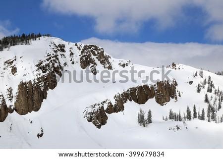 Hiking the head wall in Jackson, Wyoming - stock photo