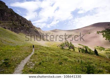 Hiking the Rocky Mountains in Waterton - stock photo