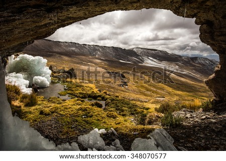 Hiking to the source of the Amazon River (Mismi volcano), remote south Peru, framed image of vulcanic landscape
