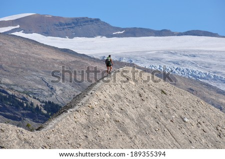 Hiking to the top of the world! Yoho national park, British Columbia, Canada - stock photo