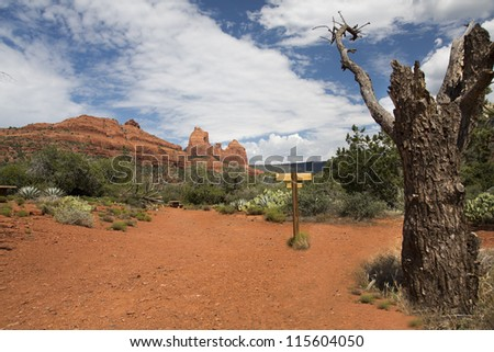 Hiking Trail at Schnebly Road with route marker - stock photo