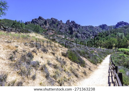 Hiking trail at the Pinnacles National Park in Monterey County, California, near the Salinas Valley, on the California Central Coast - stock photo
