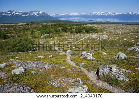 Hiking Trail between Lapporten and Abisko in Sweden - stock photo