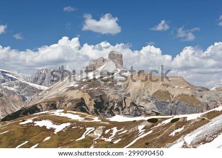 Hiking trail in Dolomiti mountains - Italy - stock photo