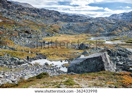 Hiking Trail in northern Sweden - Lapland - stock photo