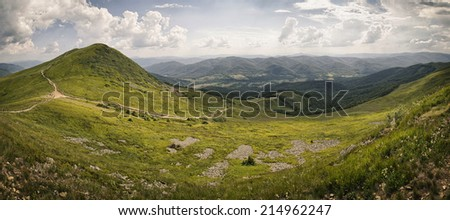 hiking trail in Polish mountains
