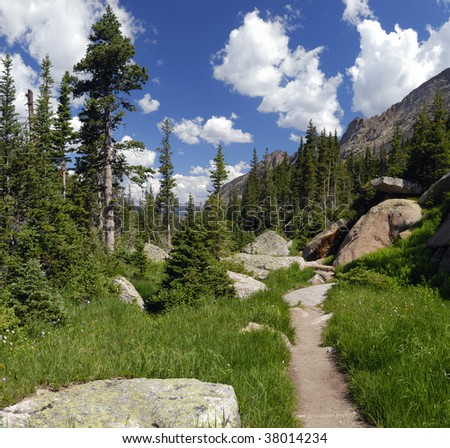 Hiking trail in Rocky Mountain National Park, Colorado - stock photo