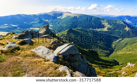 Hiking trail in the Carpathian mountains - stock photo