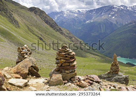 Hiking Trail in the Valley. Was seen in the Schnalstal Valley, South Tyrol, Italy. - stock photo