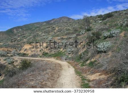 Hiking trail leading up a hill side, California - stock photo