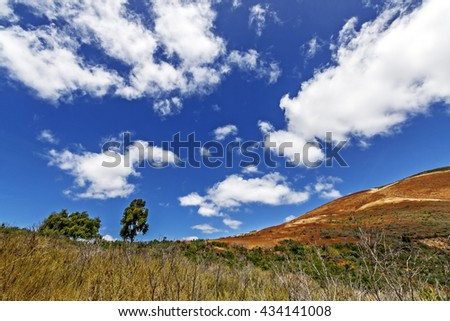 Hiking trail / path through the California Central Coast foothills, with blue skies and puffy white clouds, perfect for resting, picnicking, hiking, biking, & walking. Photographed near Avila Beach. - stock photo