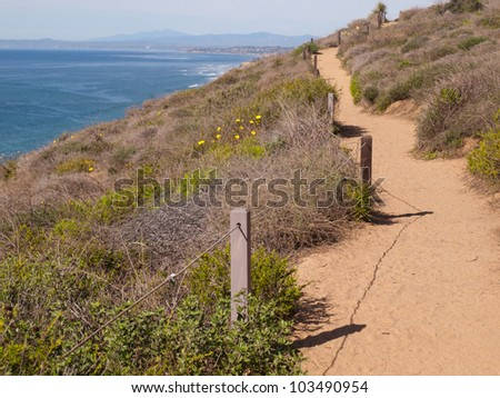 Hiking Trail though Torrey Pines, California - stock photo