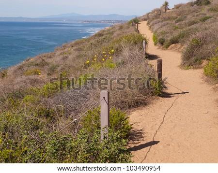 Hiking Trail though Torrey Pines, California - stock photo