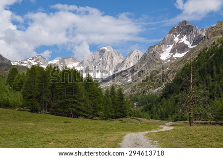 Hiking trail with mountain range in background. - stock photo