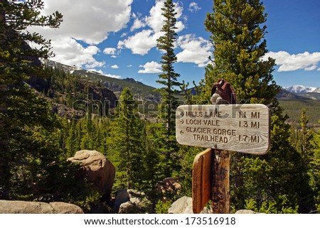 Hiking trails and trail markers (trail posts) at the Rocky Mountain National Park  America / USA / Colorado Background - stock photo