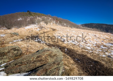 Hiking up to Roan Mountain along the Appalachian trail on a cold winter day - stock photo