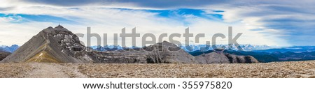 Hiking views from Moose Mountain Kananaskis Country Alberta Canada - stock photo