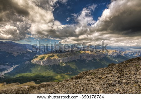 Hiking vista from  Mount Black Rock Fire lookout, Kananaskis Country Alberta Canada - stock photo