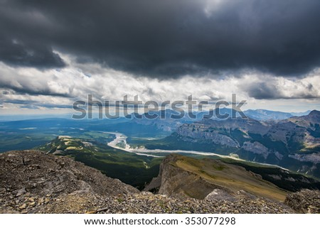 Hiking vista from  Mount Black Rock Fire lookout, Kananaskis Country Alberta Canada