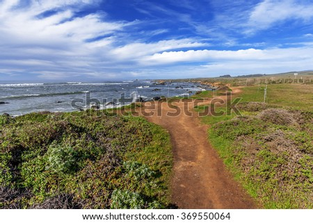 Hiking / walking trail at the  Northern Elephant Seals  Rookery on the rugged Big Sur coastline, traveling the Big Sur Highway (Highway 1), on the California Central Coast, near Cambria, CA - stock photo