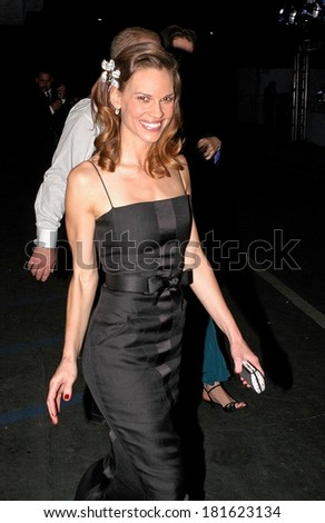 Hilary Swank, in Chanel Haute Couture, at Paramount and DreamWorks Official Golden Globes After Party, the former Robinsons-May department store, Beverly Hills,, January 15, 2007 - stock photo