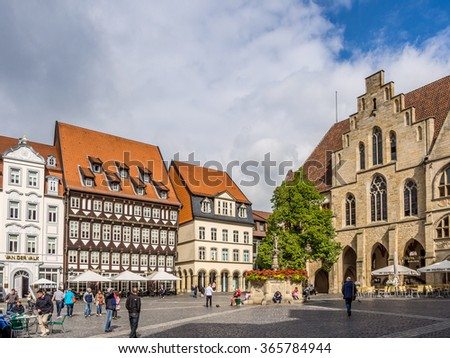 HILDESHEIM, GERMANY - SEP 12: The Marktplatz square in Hildesheim, Germany on September 12, 2013. Hildesheim is a city in Lower Saxony, Germany.