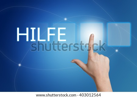 Hilfe - german word for help - hand pressing button on interface with blue background. - stock photo