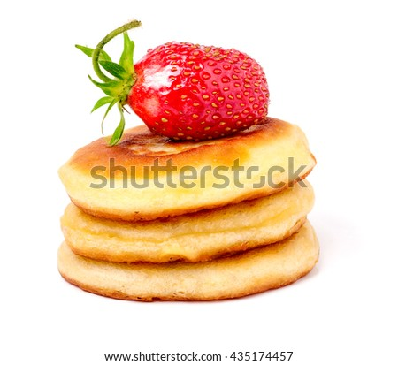 Hill pancakes with strawberry isolated on white background