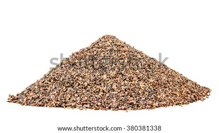 Hill small granite gravel isolated white background - stock photo