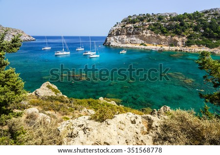 Hill view for Anthony Quinn sea bay - stock photo