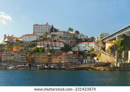 hill with old historical  town of Porto at  day, Portugal - stock photo