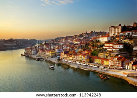 hill with old town of  Porto and river Douro at sunset, Portugal - stock photo