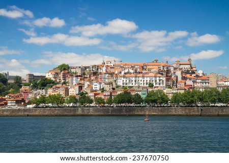 hill with old town of Porto at sunny day, UNECO heritage,  Portugal - stock photo