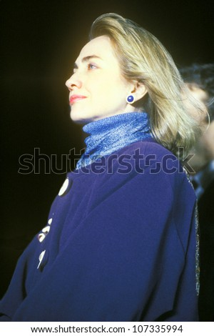 Hillary Rodham Clinton at a Kentucky campaign rally in 1992 on Clinton/Gore's final day of campaigning in Paducah, Kentucky - stock photo