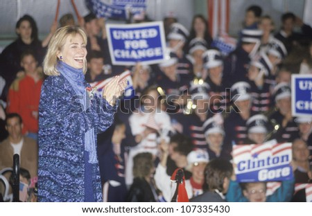 Hillary Rodham Clinton at a Michigan campaign rally in 1992 on Bill Clinton's final day of campaigning in Detroit, Michigan