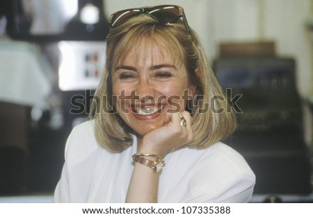 Hillary Rodham Clinton at Dee's Restaurant during the Clinton/Gore 1992 Buscapade campaign tour in Corsicana, Texas - stock photo