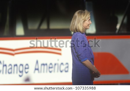 Hillary Rodham Clinton at the Clinton/Gore 1992 Buscapade campaign kick off tour in Cleveland, Ohio - stock photo