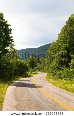 Hills and Road in Margaree Valley - Cape Breton - stock photo