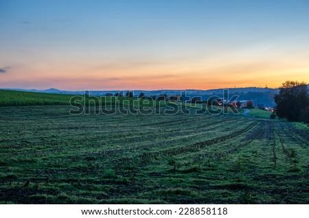 Hills at sundown - stock photo