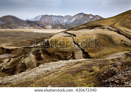 Hills covered with moss in Landmannalaugar, Iceland - stock photo