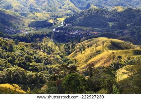 Hills field mountain tree valley tree Rio de Janeiro, Brazil - stock photo