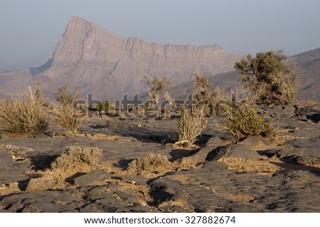 Hills of Jabal Shams in northern Oman - stock photo