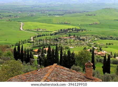 Hills of Tuscany seen from Pienza - stock photo
