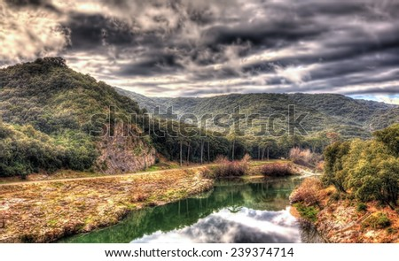 Hills over the Gardon river - France, Languedoc-Roussillon - stock photo