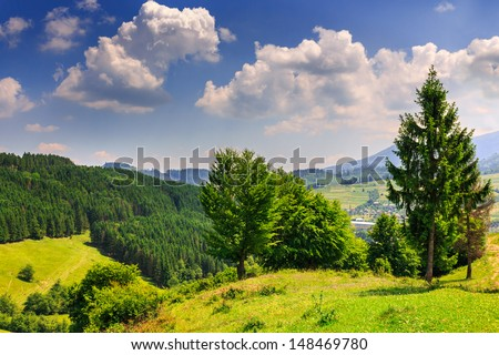 hills with trees and forests in front of mountains - stock photo