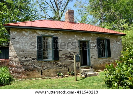 Hillsborough, North Carolina - April 20, 2016:  Two room brick schoolhouse at the 1821 Burwell School for Women Historic Site