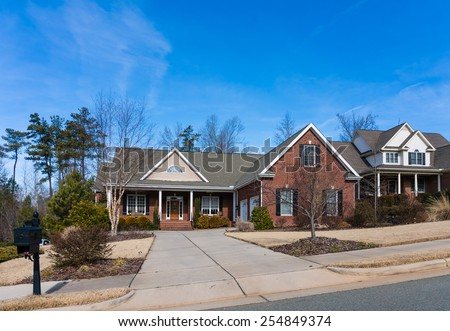 Hillside street view - stock photo