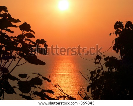 Hillside view of Andaman Sea sunset, Asia.