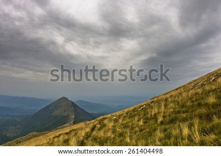 Hillside with trekking path to Trem peak at Suva Planina mountain in east Serbia - stock photo