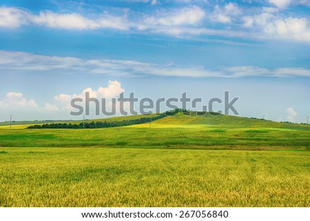 Hilly autumn landscape on a cloudy day - stock photo